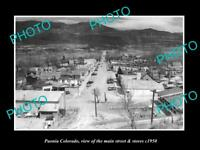 OLD LARGE HISTORIC PHOTO OF PAONIA COLORADO, VIEW OF THE MAIN St & STORES c1950