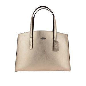 NWT COACH Charlie Caryall Metallic Leather Bag, Gunmetal