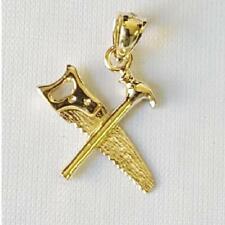 14k Yellow Gold SAW AND HAMMER Pendant / Charm, Made in USA