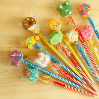6pcs Cute Cartoon Eraser Pencil Wood Toy Kid Party Favor Supply Bag School Gift