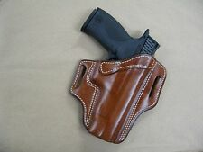 S&W Smith & Wesson M&P Pistol Leather 2 Slot Molded Pancake Belt Holster TAN RH