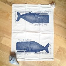 Nautical Kitchen Towel Primitive Whale Tea Blue Natural Cotton NEW CTW Backroads