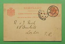 DR WHO 1900 NETHERLANDS POSTAL CARD KEPPEL TO ENGLAND C243925