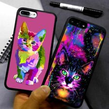 Art Painting Cat Face Colorful Silicone Case Cover For iPhone Samsung Galaxy