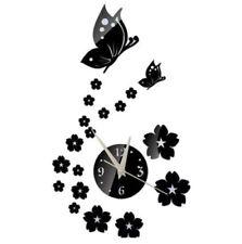 3D Wanduhr Uhr schwarz Schmetterling Deko Dekor Wandtattoo Tattoo zum Kleben