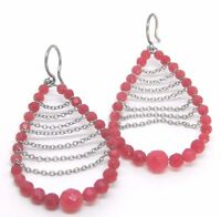 Artisan Made Red Beaded Earrings 2.5 inch (AD311)