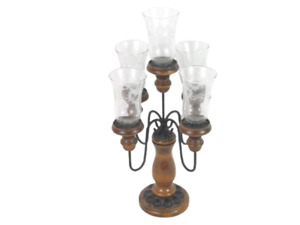 Wooden Candelabra With Black Metal Arms Holds 5 Stick Candles