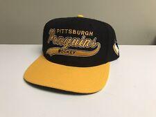 Vintage Pittsburgh Penguins Starter Script Snapback Hat Cap Nhl Arch Wool Retro