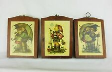 Vtg Hummel 3 pictures Manchester wood handcrafted wall plaque nursery decor