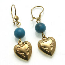 Vintage 18k yellow gold Turquoise Heart Dangle Earrings long Estate