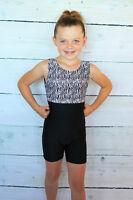 NEW Child 2-4 XXS, 6-8 Biketard Leotard Unitard Black Dance Gymnastics Toddler