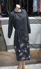 Devine S 100% LAINE ULTRA élégant Designer grey manteau avec blanc broderie
