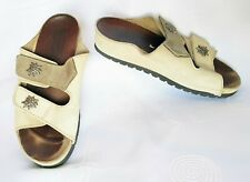 VINTAGE TYROL OKTOBERFEST DIRNDL BEIGE LEATHER WOMEN'S SLIPPERS SHOES:US7;EU38