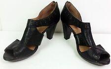 Indigo Clarks Bardolino women's Black leather shoes zipper brass studs 10