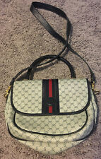 Vintage Gucci GG Canvas Navy Blue Leather Crossbody Shoulder Bag