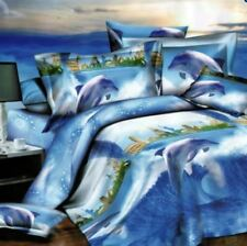 3 Pieces King 3D Bedsheet Modern Dolphin City Theme Fitted Cover with Pillowcase