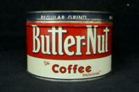 Vintage Butter Nut Coffee Tin 1 Pound Advertising Container With Lid Red White
