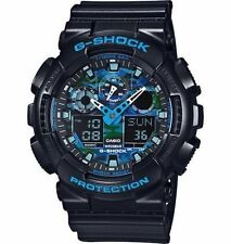 Casio G Shock Blue Black Camo Resin Analog Digital Watch GA100CB-1A New
