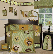Custom Baby Bedding - Jungle Monkey (Green) - 14 pcs incl. Lamp Shade