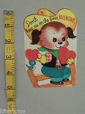 Vtg Valentine Card Puppy Dog Ten Gallon Cowboy Hat Boots Bluebird Fence UNUSED