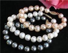 3*lovely natural white&pink&black 7-8mm pearl bracelet