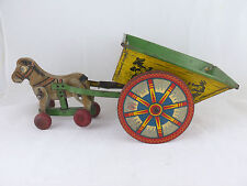 1948-1955 HORSEDRAWN ELENEE TIN TOY CART 15.5 INCHES W MEXICANS SINGING, DANCING