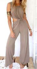 Choies Women's Khaki Open Belly Sleeveless Jumpsuit XLarge Beige (runs Small)