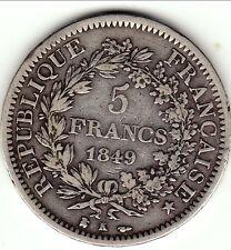 5 francs hercule 1849 k 2eme républ TTB      cote 300 TTB