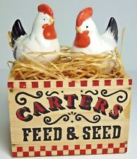 Trippies Chicken Ceramic Salt & Pepper Shaker Set Carters Feed & Seed Wood Crate