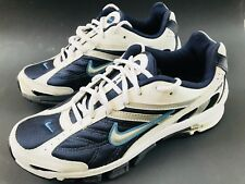 NIKE AIR DUAL-D Men's Size 9.5 Running Athletic Shoes Sneakers White Navy Blue