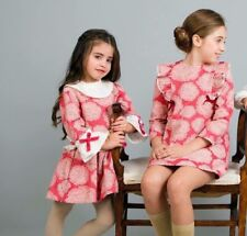 Spanish Brand Miranda Girls Hot Pink & Cream Flower Print Drop Waist Dress 4Y