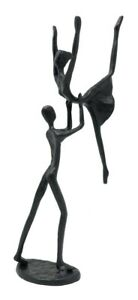 Black Cast Iron Dancers 'Hoist' Sculpture Ornament Figurine Dancing Couple Piece