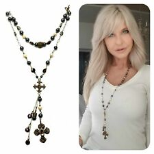 Sterling silver Kinley  rosary necklace Hematite Pearls n Garnets with bronze