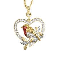 WOMEN RHINESTONE ROBIN BIRD HEART PENDANT CLAVICLE CHAIN NECKLACE JEWELRY SMART