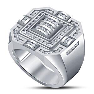 Men's 14K White Gold Finish Diamond Squar Designer Engagement Pinky Ring Band