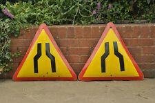 2x vintage old enamel metal signs old road sign