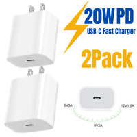 2X 20W PD USB-C To iPhone Fast Wall Charger Power Adapter For Apple 12 11 ProMax