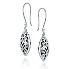 Sterling Silver Leaf shape Fine Classic Earrings Precious Metal without Stones