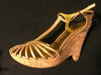 BCBG MAXAZRIA SHOES Gold Leather cork wedge platform Strappy Sandals 9.5 FAB!!