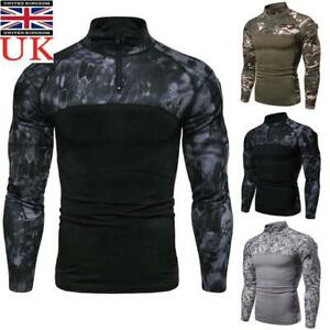 Men Camouflage Army Combat Tactical T Shirt Military Long Sleeve Fit T-Shirts UK