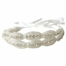 Double Strip Bride Wedding Accessory Hair Head Band Wear Rhinestone Jewelry B6W9