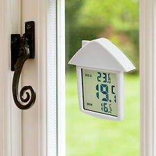 Digital Window Thermometer Indoor Outdoor Weather Station Suction Cup