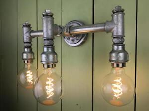 Steampunk Dreifach Wandlicht, Maßgeschneidert, Retro, Vintage, Industriell