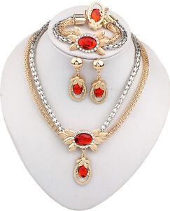 New Women Red Gem Necklace Earrings Bracelet Ring Set Jewelry Accessories UK