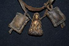 Old Tibetan Pendant Copper Buddha Armored leather Buddhism Amulet Pendant Buti.