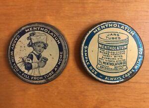 2 Antique Mentholatum Advertising Tins Samples Nurse BIN