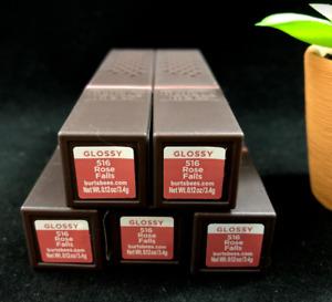 x5 Burt's Bees # 516 ROSE FALLS GLOSSY 100% Natural Lipstick (PACK OF 5)