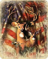 AMERICAN FLAG DEER BUCK 79 x 96 Queen BLANKET THROW : PATRIOTIC FUR HUNTING