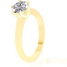 Solid 14k Yellow Gold 1.0 CT Round Cut Solitaire Engagement Wedding Ring