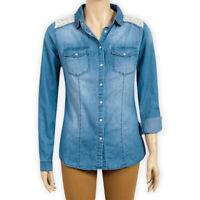 Womens Ladies Roll Tab Sleeve Cotton Denim Blue Casual Button-Down Shirt Blouse